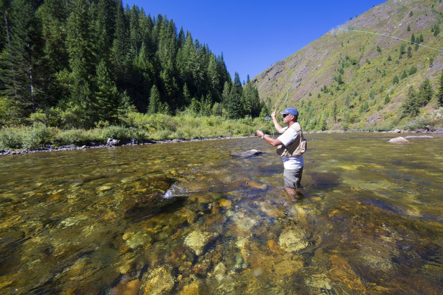 Fly-fisherman Jeff Halligan on the Selway River.