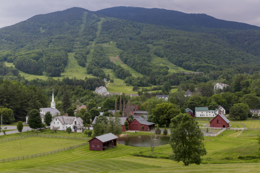 The view of Mount Ascutney from Brownsville Village in West Windsor, Vermont. Village Farm.  Photo Credit:  Marcy Monkmann