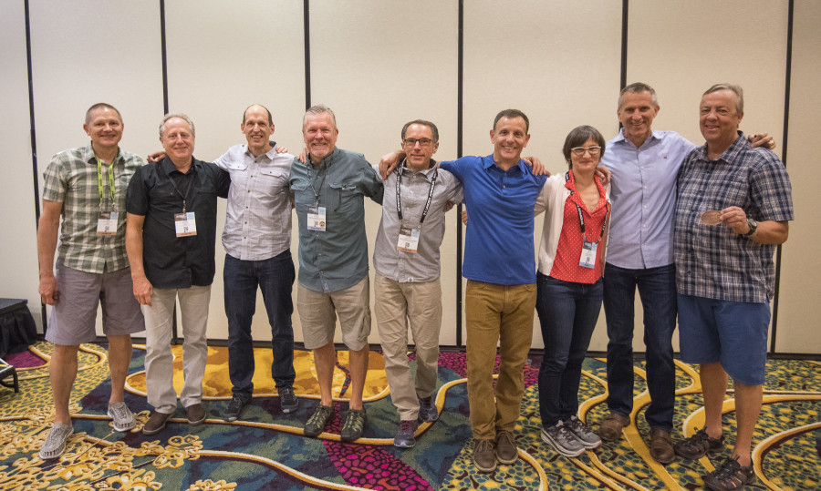 Pictured left to right: Kirk Richardson; Steve Meineke; Matt Hyde; Steve Barker; Peter Metcalf; Adam Forest; Sally McCoy; Steve Rendle; and Casey Sheahan. (Not Pictured:  Yvon Chouinard and Rory Fuerst)