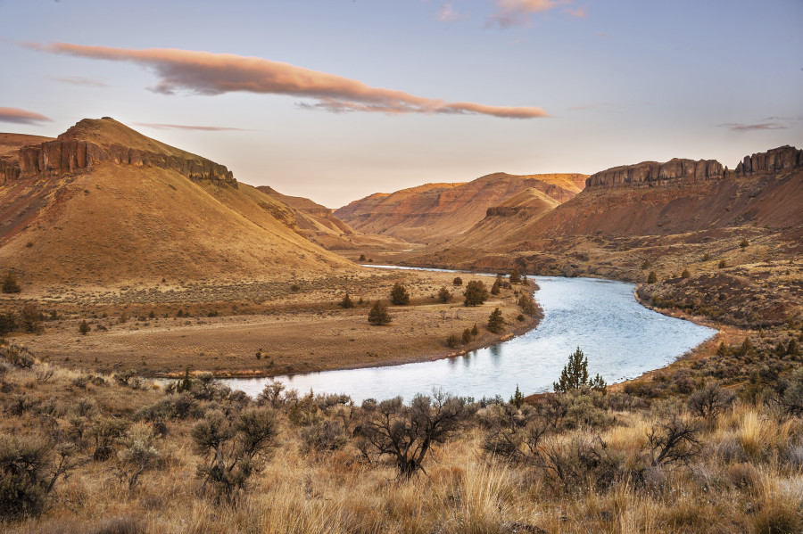 Sunrise along John Day River, OR  Tom and Pat Leeson